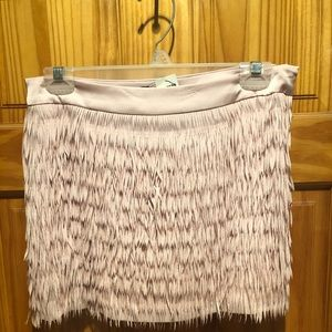 Pink Fringe Mini Skirt
